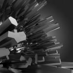 3d black crystal shapes